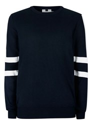 Topman Navy And White Sleeve Stripe Jumper Blue