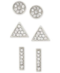 Touch Of Silver Set Of Three Crystal Stud Earrings In Silver Plated Metal