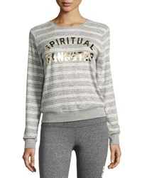Spiritual Gangster Collegiate Arch Metallic Logo Sweatshirt Gray White