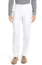 Nordstrom 'S Big And Tall Men's Shop Flat Front Solid Linen Trousers White