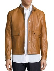 Salvatore Ferragamo Lambskin Leather Jacket Tan