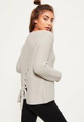 Missguided Grey Lace Up Back Knitted Jumper