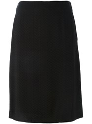 Jean Louis Scherrer Vintage Chevron Pattern Skirt Black