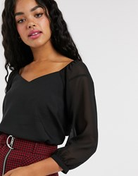 Pimkie Sweetheart Neck Blouse In Black