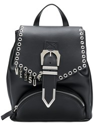 Versus Logo Charm Buckled Backpack Black