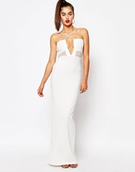 Missguided Cross Front Mesh Insert Maxi Dress White