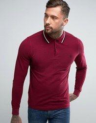 Fred Perry Slim Long Sleeve Polo Shirt Two Tone Tipped Pique In Claret Claret Oxford Red