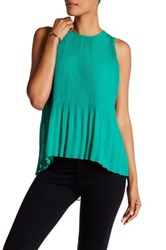 Susina Sleeveless Pleated Chiffon Blouse Green