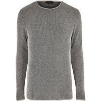 River Island Mens Grey Textured Long Sleeve Top