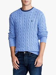Ralph Lauren Polo Cable Knit Cotton Sweater Soft Royal Heather