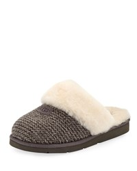Ugg Cozy Knit Slippers With Sheepskin Charcoal