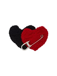Prada Safety Pin Hearts Brooch Black