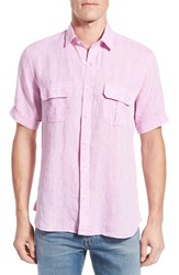 Men's Toscano Regular Fit Short Sleeve Linen Sport Shirt
