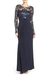 Eliza J Women's Draped Long Sleeve Gown