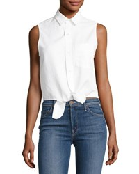 Mother Foxy Knot Sleeveless Button Front Top White