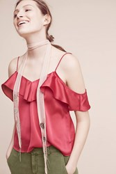 Anthropologie Delicate Ruffled Cami Raspberry
