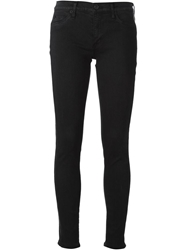 Hudson Perforated Leather Side Panel Skinny Jeans Black