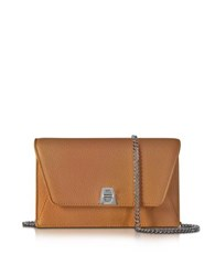 Akris Anouk Cuoio Pebbled Leather Clutch W Chain Brown