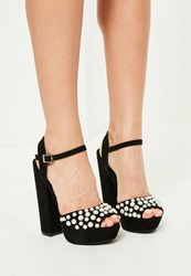 Missguided Black Pearl Detail Platform Heels