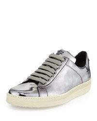 Tom Ford Mirrored Leather Low Top Sneaker Silver