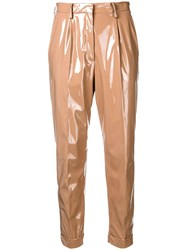N 21 No21 High Waisted Shine Effect Trousers Nude And Neutrals
