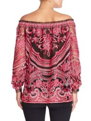 Naeem Khan Off The Shoulder Blouse Black Fucshia