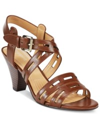 Easy Spirit Ranette Peep Toe Sandals Women's Shoes Brown