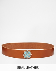 Black And Brown Leather Jeans Belt With Turquoise Buckle Tanturq