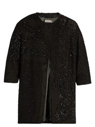 By Walid Delya Collarless Bead Embroidered Coat Black