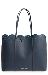 Draper James Solid Scallop Faux Leather Tote Blue Nassau Navy