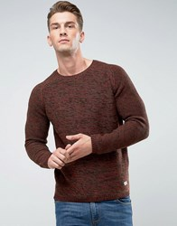Only And Sons Knitted Jumper With Raglan Sleeve Mixed Yarn Deep Depths Red