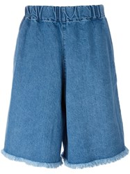 Marques Almeida Marques'almeida Elasticated Waist Denim Shorts Blue