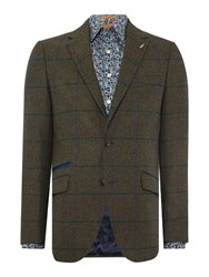 Simon Carter Tweed Check Jacket Green