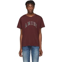 Amiri Burgundy College Logo T Shirt