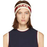 Gucci Off White And Red Stripe Logo Headband