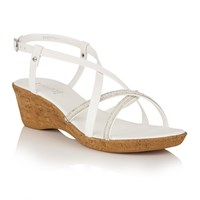 Lotus Merida Strappy Wedge Sandals White