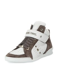 Jimmy Choo Lewis Men's Suede And Leather High Top Sneaker White Gray