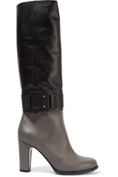 Karl Lagerfeld Two Tone Leather Knee Boots Gray