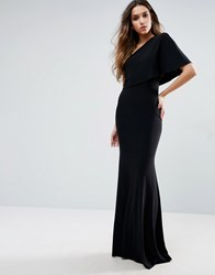 Club L One Shoulder Detailed Slinky Maxi Dress Black