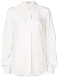Mantu Drape Sleeve Shirt Women Silk 44 White
