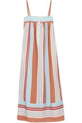 Paul And Joe Striped Satin Jacquard Dress Orange