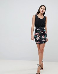 Ax Paris 2 In 1 Cami Skater Dress With Tropical Floral Skirt Black