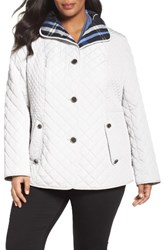 Gallery Plus Size Women's Plaid Lined Quilted Barn Jacket Cloud