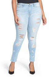 Good American Plus Size Women's Legs Destroyed Skinny Jeans Blue 008