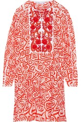 Oscar De La Renta Raffia Embellished Printed Silk And Cotton Blend Dress Crimson