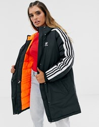 Adidas Originals Three Stripe Parka In Black