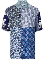 Pierre Louis Mascia Patchwork Print Shirt Blue