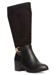 Evans Extra Wide Fit Material Mix Long Boot Black