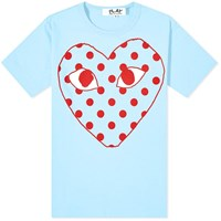 Comme Des Garcons Play Red Heart Polka Dot Logo Tee Blue