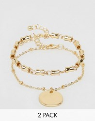 Asos Pack Of 2 Chain Link And Disc Bracelets Gold